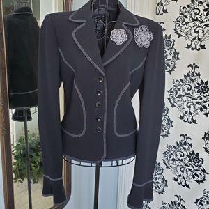 Escada Black knit peplum style jacket